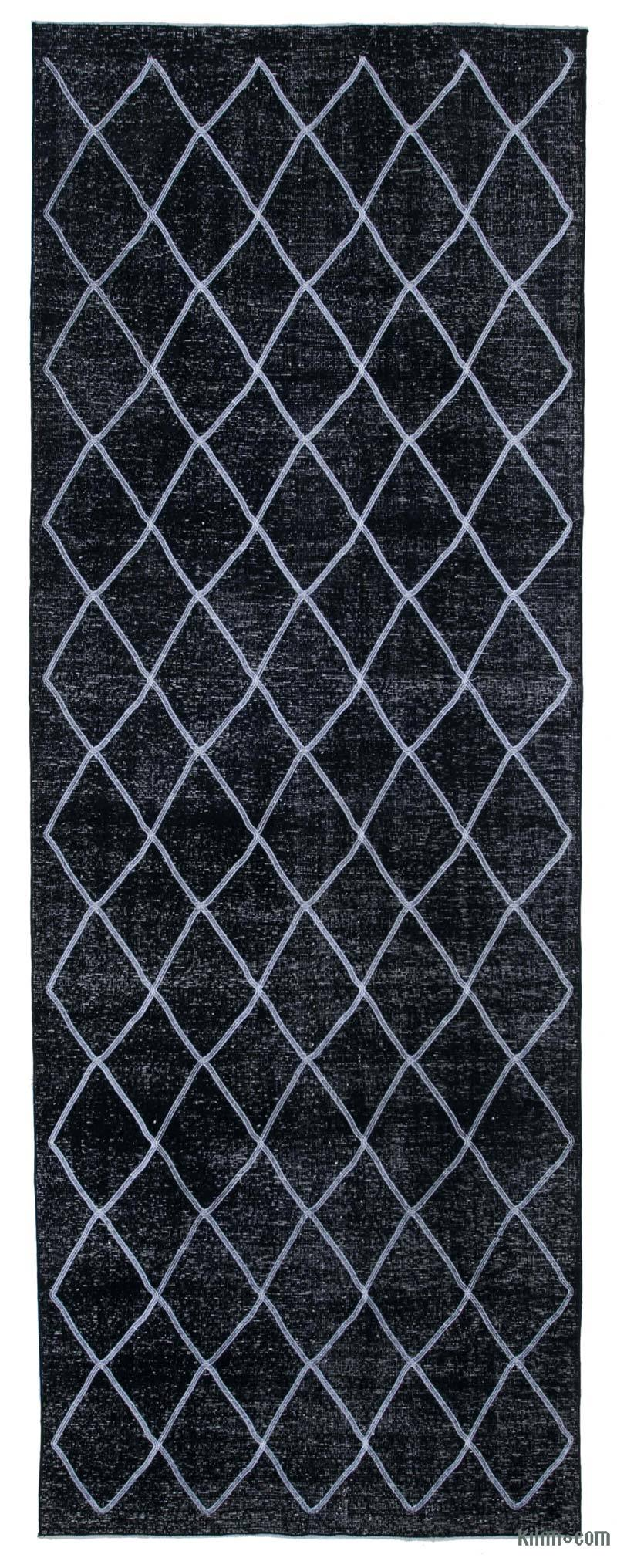 """Black Embroidered Over-dyed Turkish Vintage Runner - 4' 8"""" x 12' 10"""" (56 in. x 154 in.) - K0038745"""