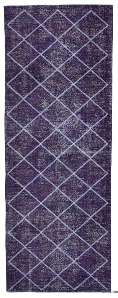 "Embroidered Over-dyed Turkish Vintage Runner - 4' 8"" x 12' 10"" (56 in. x 154 in.)"