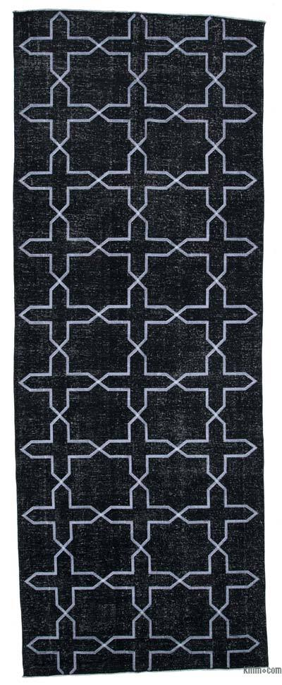 "Embroidered Over-dyed Turkish Vintage Runner - 4' 10"" x 13'  (58 in. x 156 in.)"