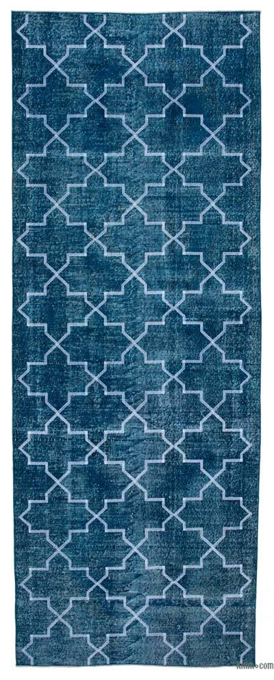 """Embroidered Over-dyed Turkish Vintage Runner - 4' 9"""" x 12' 6"""" (57 in. x 150 in.)"""