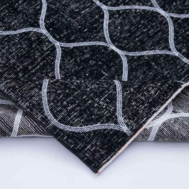 Siyah İşlemeli ve Boyalı El Dokuma Vintage Halı - 152 cm x 342 cm - K0038750