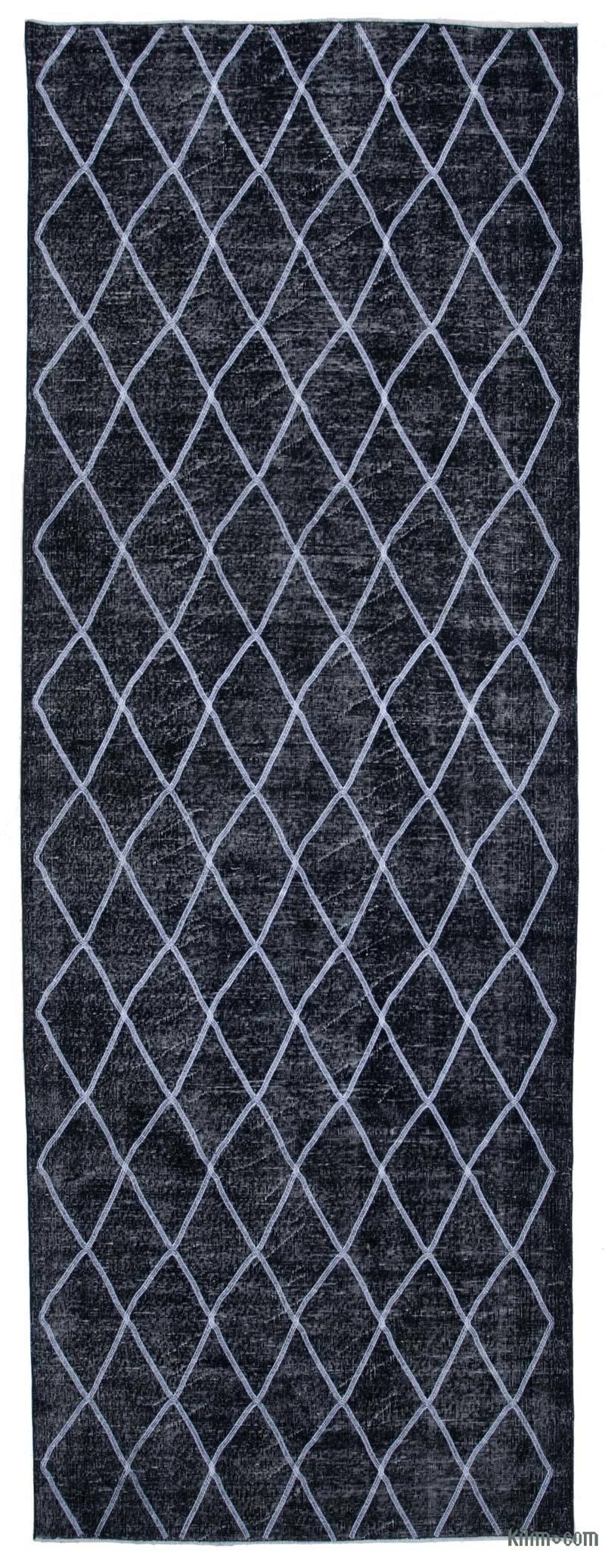 """Black Embroidered Over-dyed Turkish Vintage Runner - 4' 8"""" x 13'  (56 in. x 156 in.) - K0038752"""