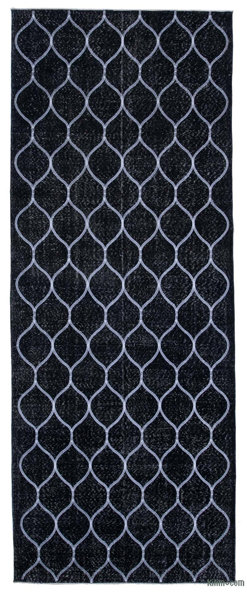 """Black Embroidered Over-dyed Turkish Vintage Runner - 4' 9"""" x 12' 6"""" (57 in. x 150 in.) - K0038753"""
