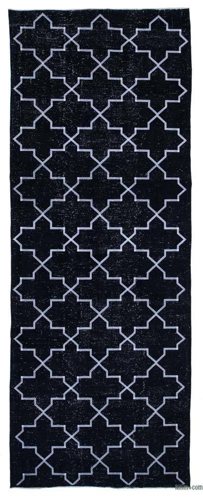 "Embroidered Over-dyed Turkish Vintage Runner - 4' 8"" x 12' 8"" (56 in. x 152 in.)"