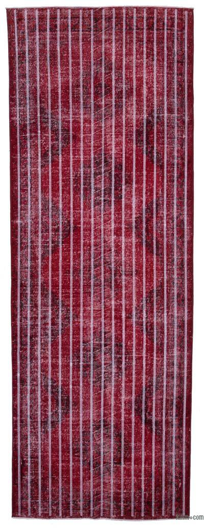 "Embroidered Over-dyed Turkish Vintage Runner - 4'7"" x 13' (55 in. x 156 in.)"