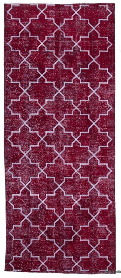 """Red Embroidered Over-dyed Turkish Vintage Runner - 4' 7"""" x 11' 3"""" (55 in. x 135 in.)"""