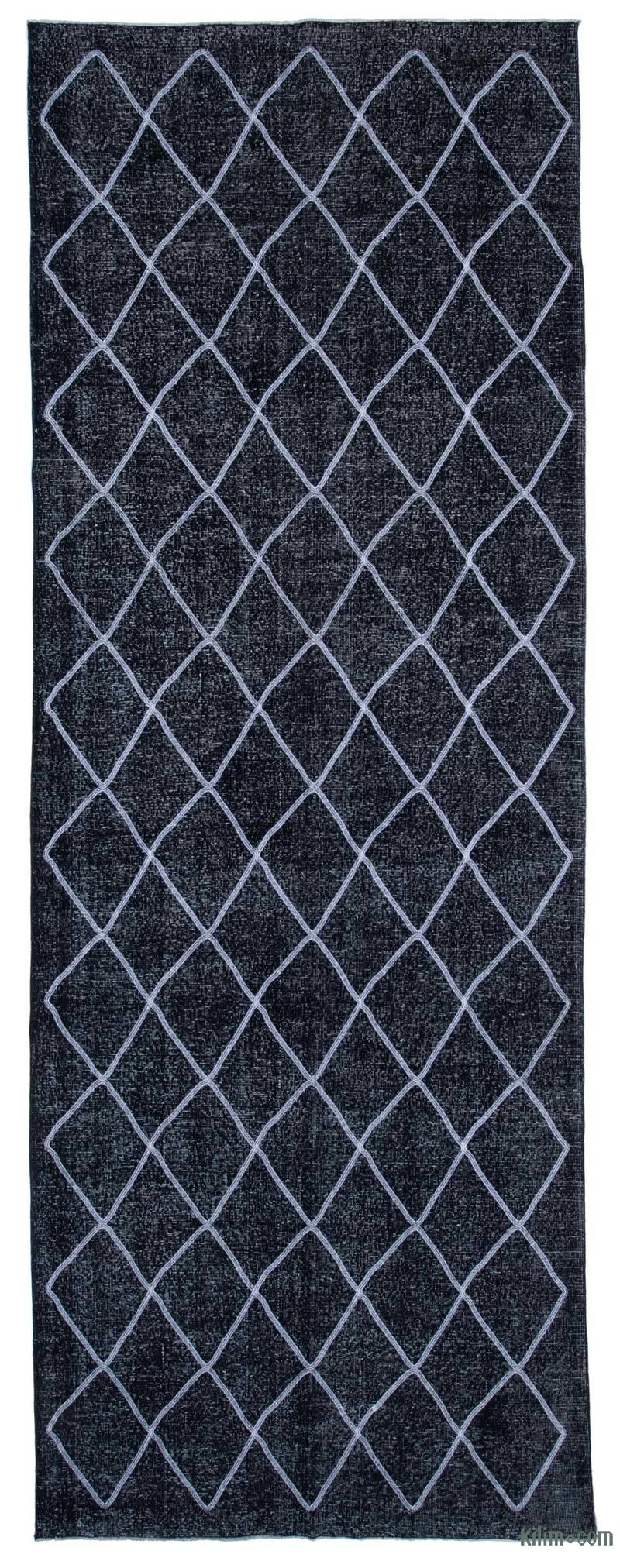 """Black Embroidered Over-dyed Turkish Vintage Runner - 4' 11"""" x 13' 8"""" (59 in. x 164 in.) - K0038762"""