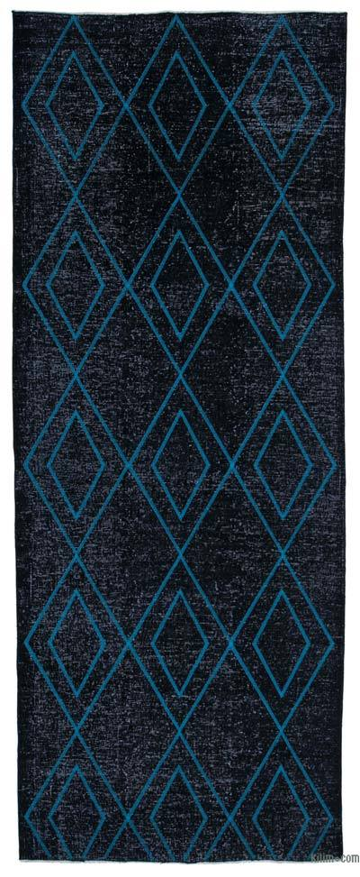 "Black Embroidered Over-dyed Turkish Vintage Runner - 4' 10"" x 12' 6"" (58 in. x 150 in.)"