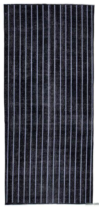 """Black Embroidered Over-dyed Turkish Vintage Runner - 4' 9"""" x 10' 5"""" (57 in. x 125 in.)"""