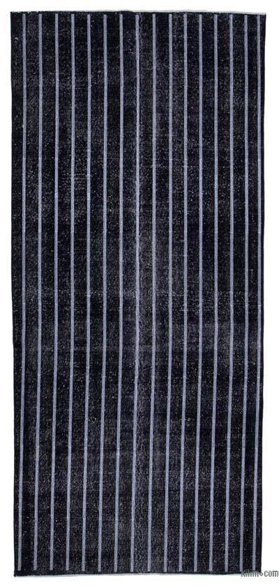 İşlemeli ve Boyalı El Dokuma Vintage Halı - 144 cm x 317 cm