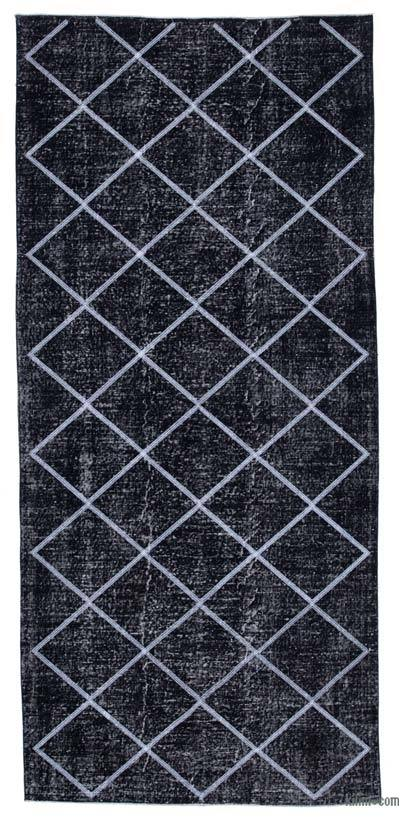 "Embroidered Over-dyed Turkish Vintage Runner - 4' 8"" x 10' 5"" (56 in. x 125 in.)"