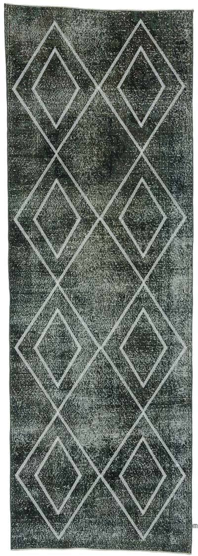 """Embroidered Over-dyed Turkish Vintage Runner - 3' 9"""" x 10' 11"""" (45 in. x 131 in.)"""