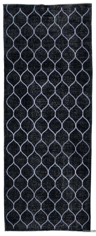 """Black Embroidered Over-dyed Turkish Vintage Runner - 4' 11"""" x 12' 8"""" (59 in. x 152 in.)"""