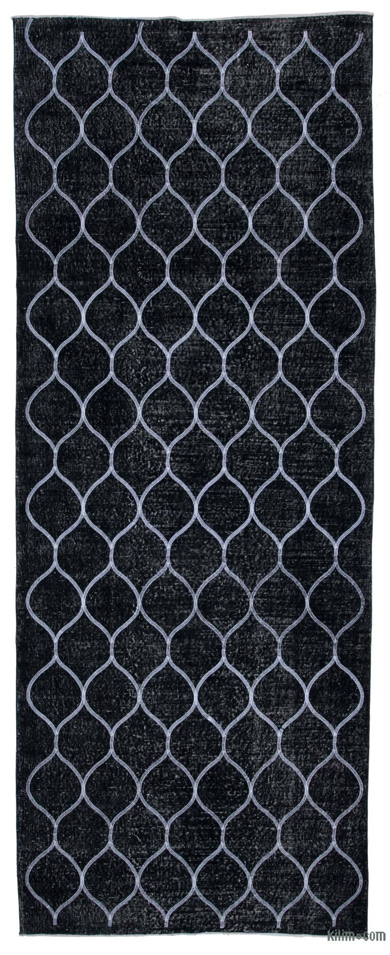 """Black Embroidered Over-dyed Turkish Vintage Runner - 4' 11"""" x 12' 8"""" (59 in. x 152 in.) - K0038770"""