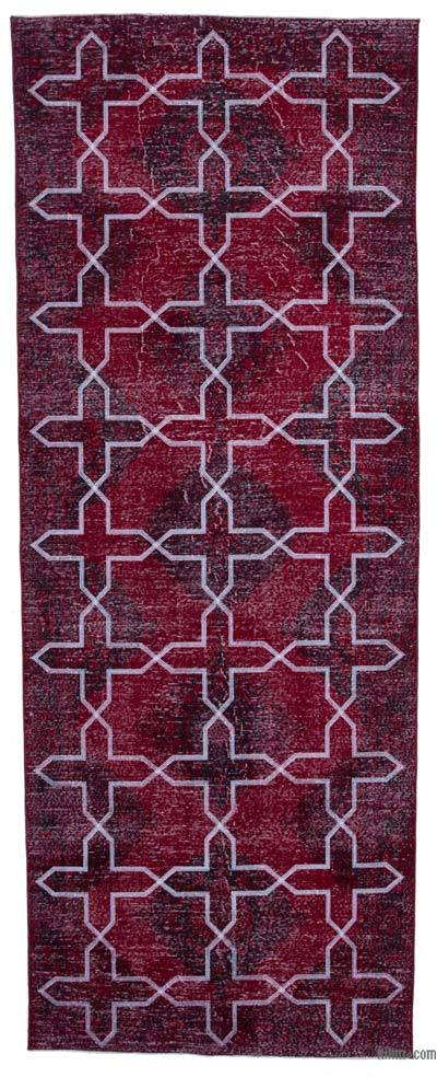 "Embroidered Over-dyed Turkish Vintage Runner - 4' 7"" x 12' 2"" (55 in. x 146 in.)"