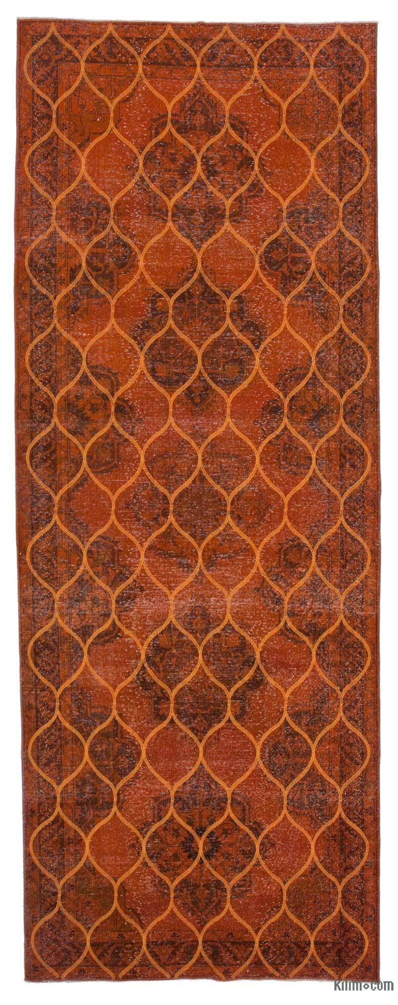 "Orange Embroidered Over-dyed Turkish Vintage Runner - 4' 10"" x 12' 10"" (58 in. x 154 in.) - K0038775"