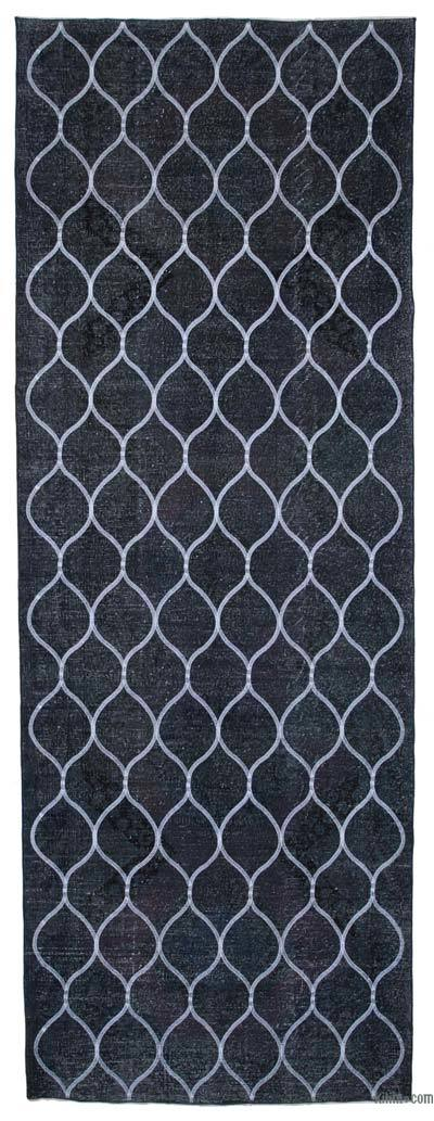 """Grey Embroidered Over-dyed Turkish Vintage Runner - 4' 8"""" x 13' 1"""" (56 in. x 157 in.)"""