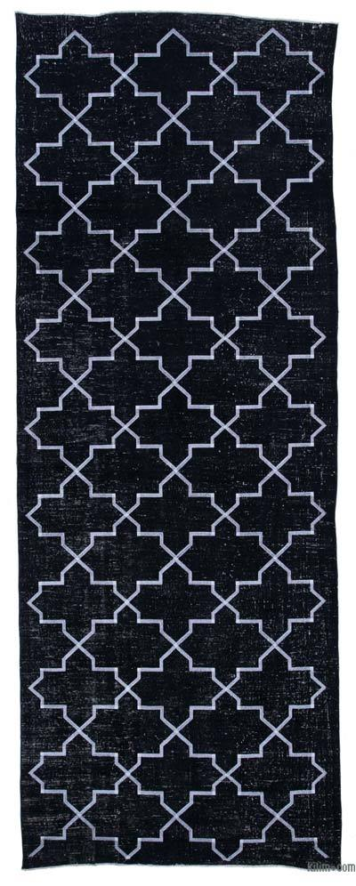 "Embroidered Over-dyed Turkish Vintage Runner - 4' 9"" x 12' 9"" (57 in. x 153 in.)"