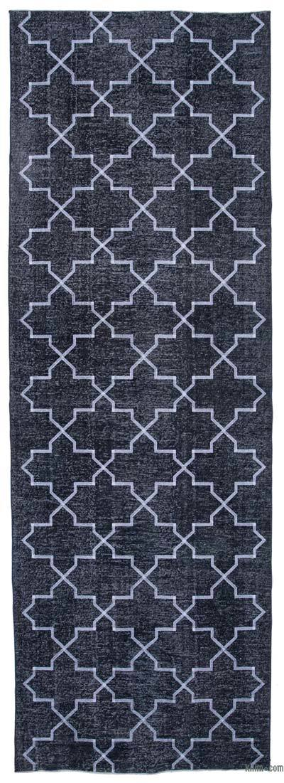 "Embroidered Over-dyed Turkish Vintage Runner - 4' 8"" x 13' 8"" (56 in. x 164 in.)"