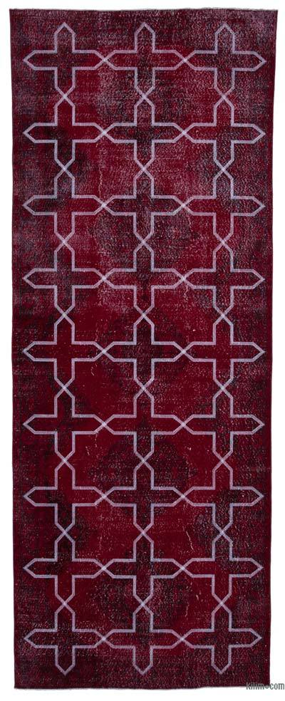 "Embroidered Over-dyed Turkish Vintage Runner - 4' 8"" x 12' 4"" (56 in. x 148 in.)"