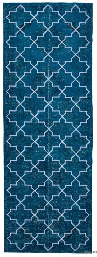 "Embroidered Over-dyed Turkish Vintage Runner - 4' 9"" x 13' 4"" (57 in. x 160 in.)"