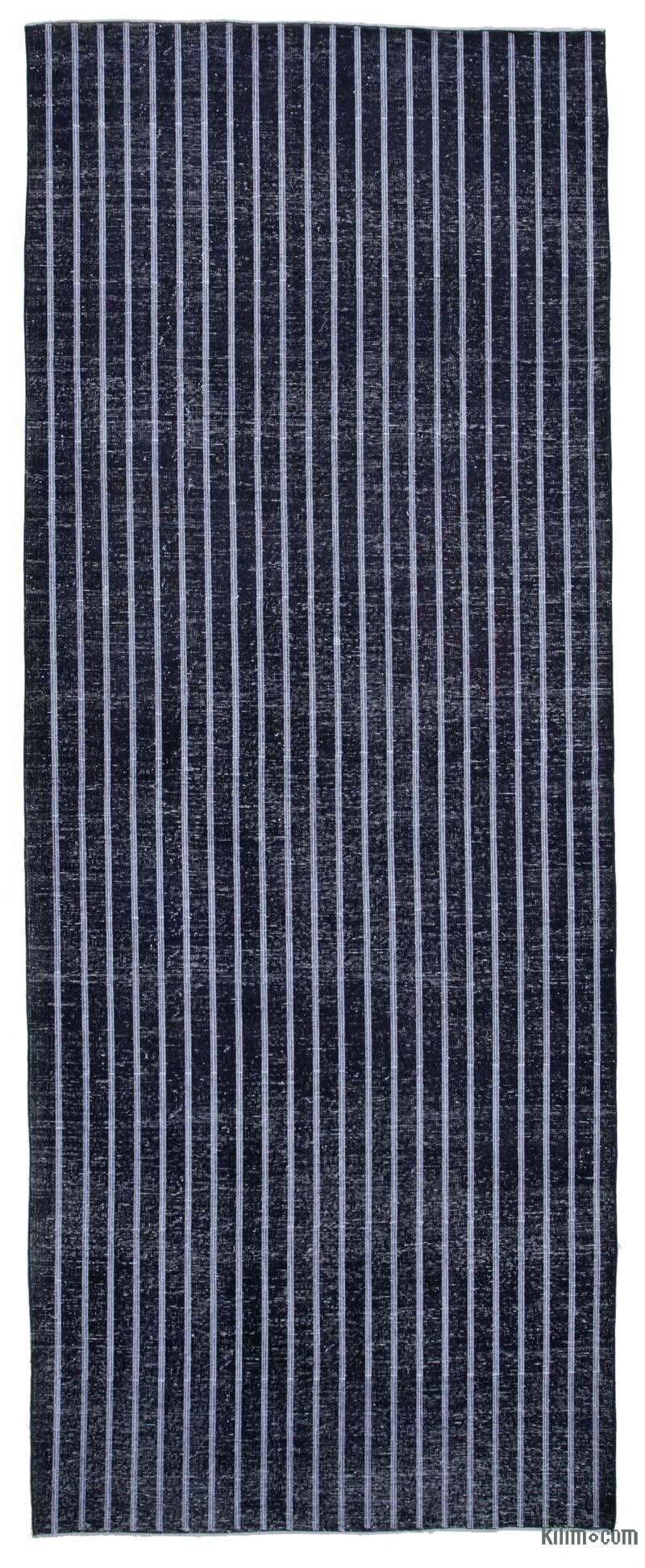 Siyah İşlemeli ve Boyalı El Dokuma Vintage Halı - 150 cm x 385 cm - K0038789