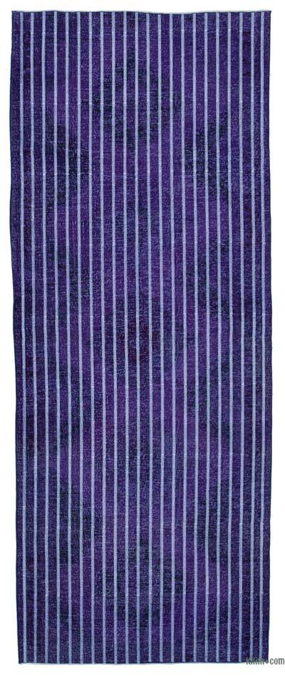"Embroidered Over-dyed Turkish Vintage Runner - 4' 9"" x 12' 2"" (57 in. x 146 in.)"