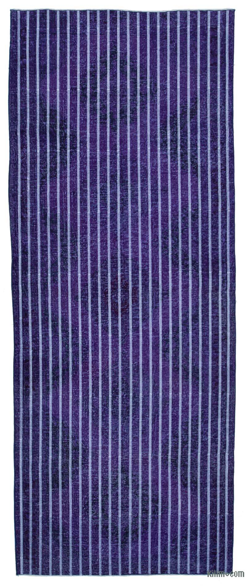 """Purple Embroidered Over-dyed Turkish Vintage Runner - 4' 9"""" x 12' 2"""" (57 in. x 146 in.) - K0038790"""
