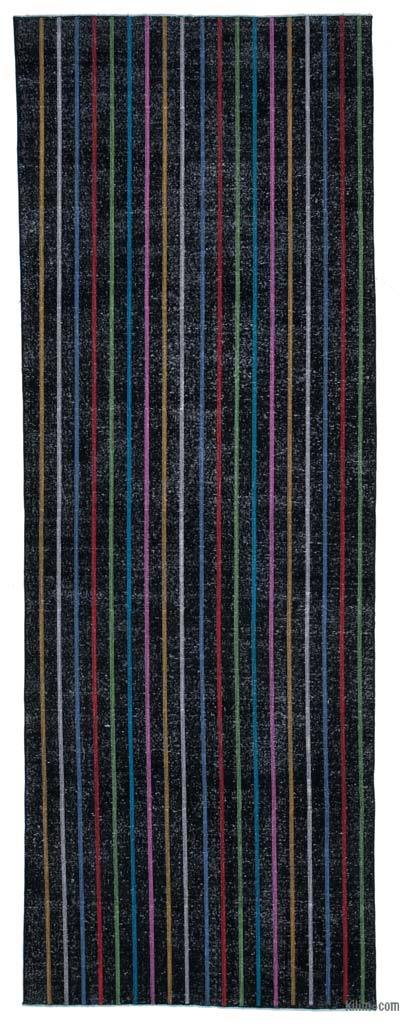 "Embroidered Over-dyed Turkish Vintage Runner - 4' 8"" x 13' 1"" (56 in. x 157 in.)"