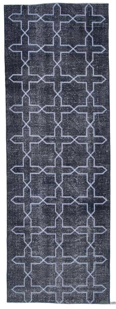 "Embroidered Over-dyed Turkish Vintage Runner - 4' 6"" x 13' 1"" (54 in. x 157 in.)"
