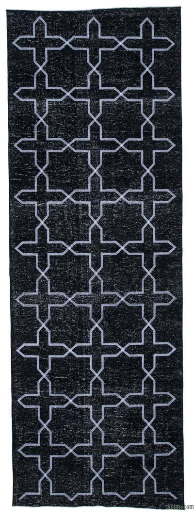 "Black Embroidered Over-dyed Turkish Vintage Runner - 4' 5"" x 12' 10"" (53 in. x 154 in.)"