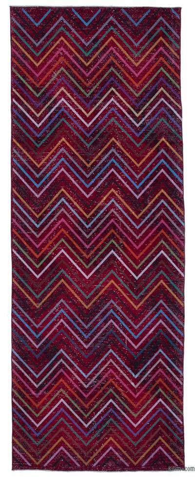 "Embroidered Over-dyed Turkish Vintage Runner - 4' 7"" x 12' 4"" (55 in. x 148 in.)"