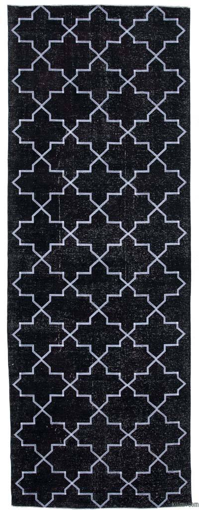 "Black Embroidered Over-dyed Turkish Vintage Runner - 4' 9"" x 13' 1"" (57 in. x 157 in.)"