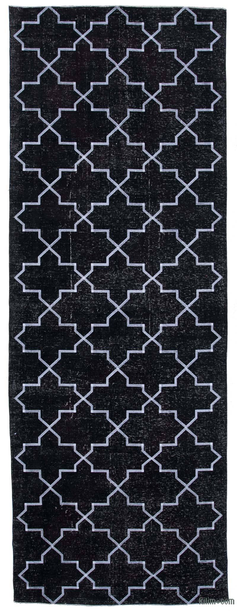 """Black Embroidered Over-dyed Turkish Vintage Runner - 4' 9"""" x 13' 1"""" (57 in. x 157 in.) - K0038796"""