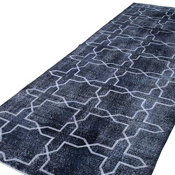 """Black Embroidered Over-dyed Turkish Vintage Runner - 4' 7"""" x 12' 7"""" (55 in. x 151 in.) - K0038797"""