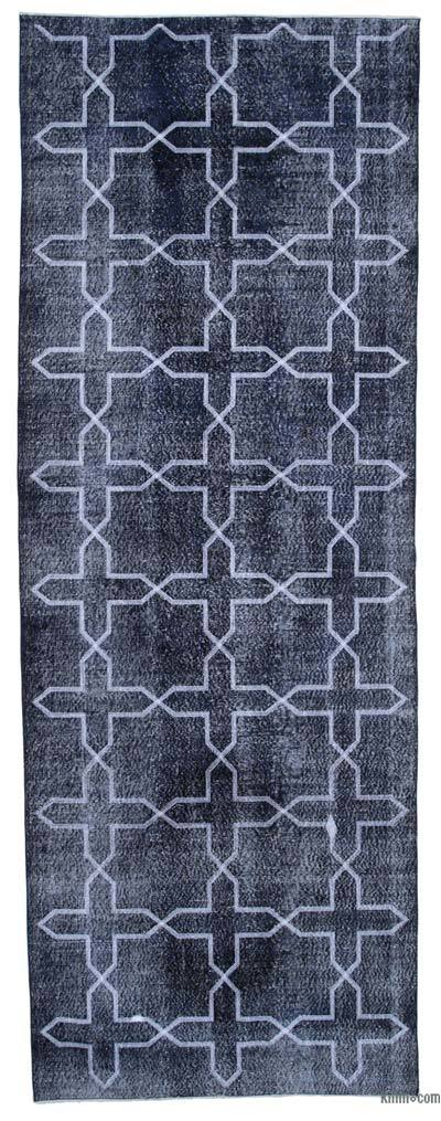"Embroidered Over-dyed Turkish Vintage Runner - 4' 7"" x 12' 7"" (55 in. x 151 in.)"