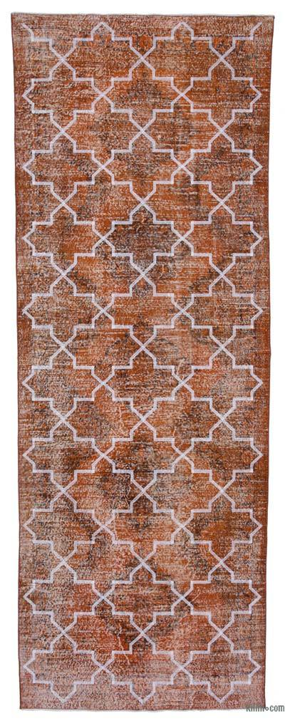 "Orange Embroidered Over-dyed Turkish Vintage Runner - 4' 7"" x 12' 9"" (55 in. x 153 in.)"