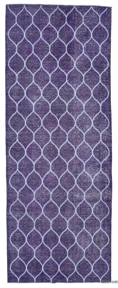 "Embroidered Over-dyed Turkish Vintage Runner - 4' 9"" x 12' 5"" (57 in. x 149 in.)"