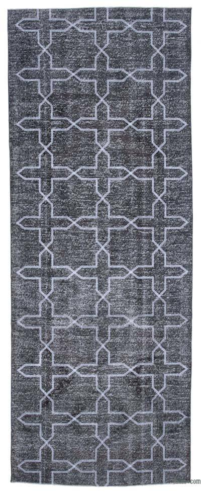 "Embroidered Over-dyed Turkish Vintage Runner - 4'10"" x 12'8"" (58 in. x 152 in.)"
