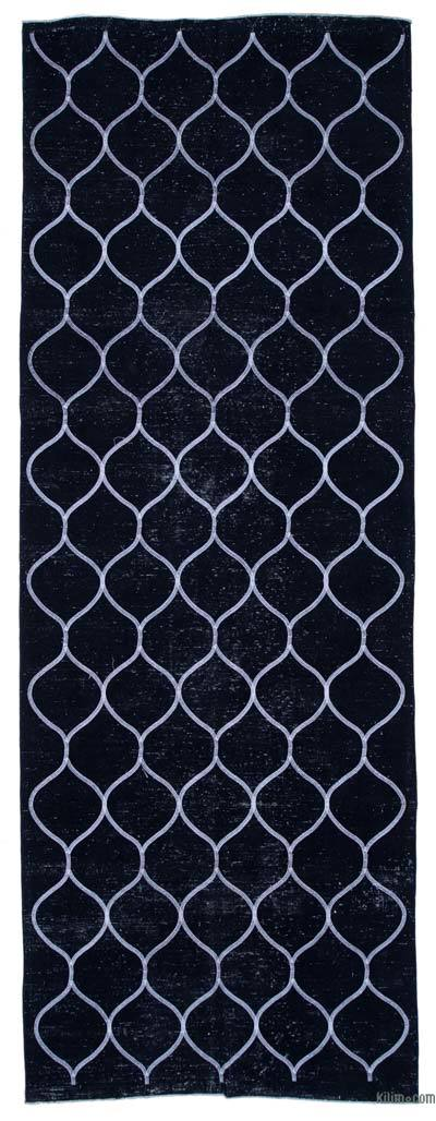 """Embroidered Over-dyed Turkish Vintage Runner - 4'8"""" x 12'8"""" (56 in. x 152 in.)"""