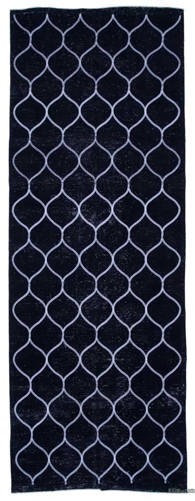 Siyah İşlemeli ve Boyalı El Dokuma Vintage Halı - 141 cm x 386 cm