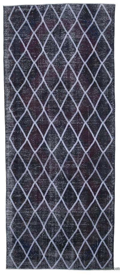 "Embroidered Over-dyed Turkish Vintage Runner - 4'10"" x 11'9"" (58 in. x 141 in.)"