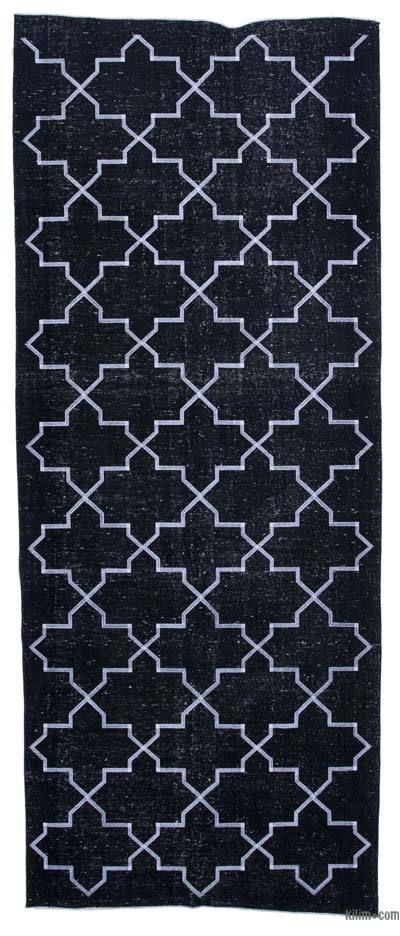 """Black Embroidered Over-dyed Turkish Vintage Runner - 4' 8"""" x 11' 6"""" (56 in. x 138 in.)"""
