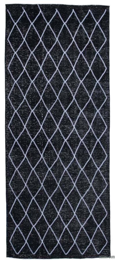 "Black Embroidered Over-dyed Turkish Vintage Runner - 4' 9"" x 11' 6"" (57 in. x 138 in.)"