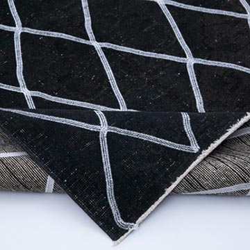 """Black Embroidered Over-dyed Turkish Vintage Runner - 4' 10"""" x 12' 6"""" (58 in. x 150 in.) - K0038809"""