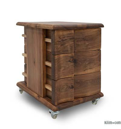 3-Drawer Solid Walnut Cabinet