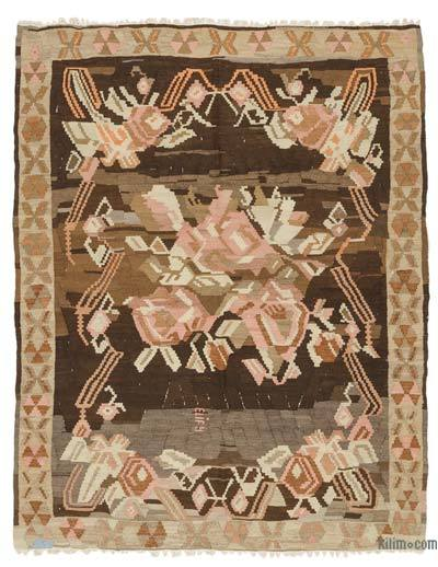 "Brown Vintage Erzurum Kilim Rug - 5' 10"" x 7' 7"" (70 in. x 91 in.)"