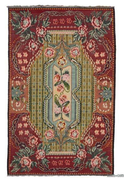 "Vintage Handwoven Moldovan Kilim Area Rug - 6'1"" x 9'8"" (73 in. x 116 in.)"