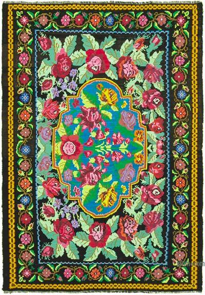 Multicolor Vintage Handwoven Moldovan Kilim Area Rug - 7'  x 10'  (84 in. x 120 in.)