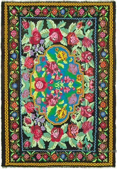 Vintage Handwoven Moldovan Kilim Area Rug - 7' x 10' (84 in. x 120 in.)